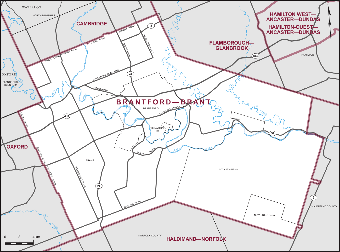 Map of the Brantford-Brant electoral district