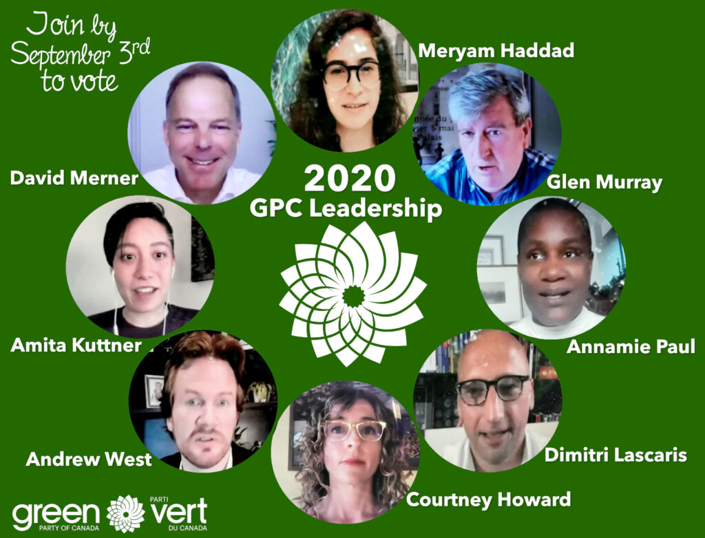 Poster showing the 8 GPC Leadership Candidate Nominees