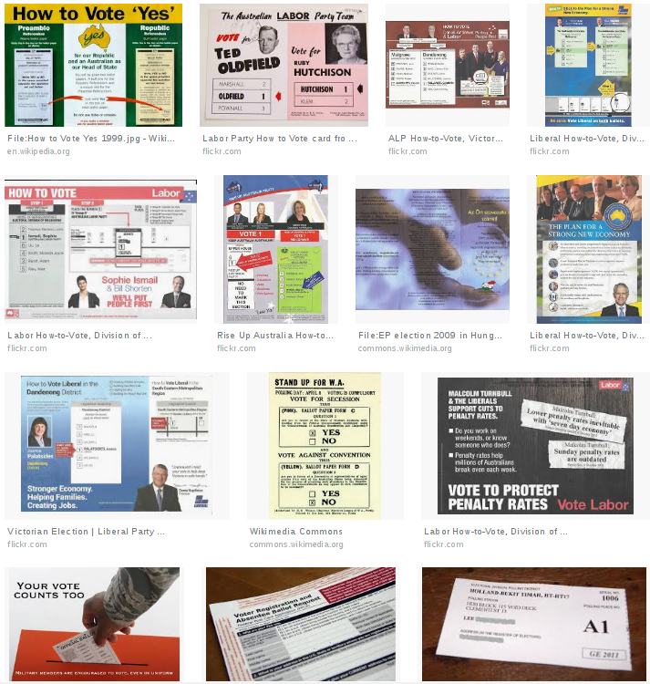 A grid of images displaying How To Vote cards