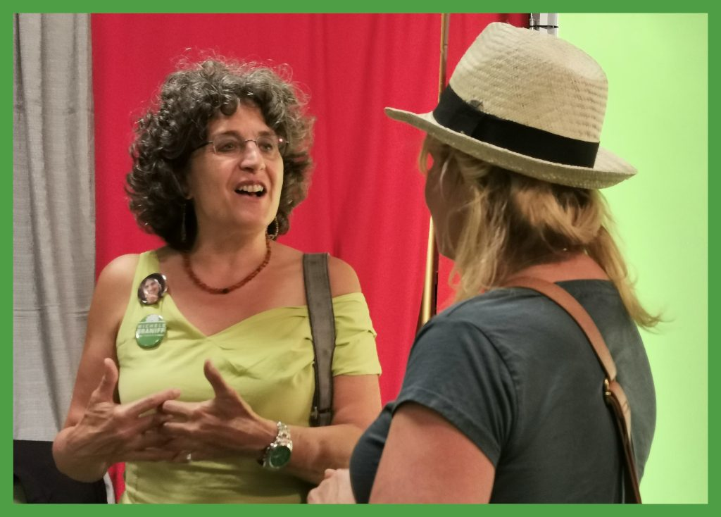 Michele Braniff talks to a voter