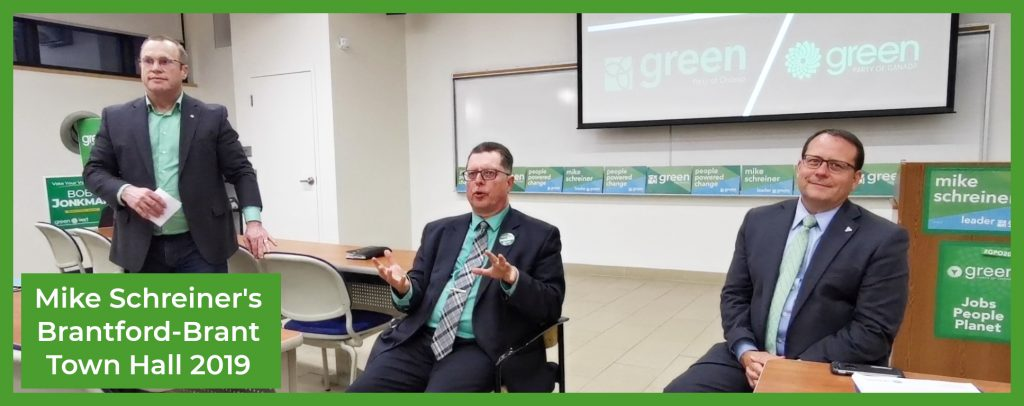 Ken Burns, Bob Jonkman join Mike Schreiner for a Brantford Town Hall