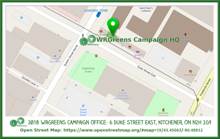 Map to 2018 WRGreens Campaign Office